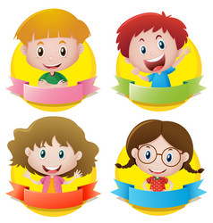 banner design with boys and girls smiling vector image