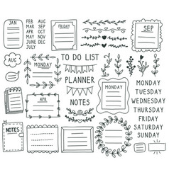 bullet journal elements hand drawn doodle vector image