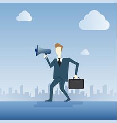 business man hold megaphone loudspeaker digital vector image