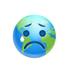 Cartoon earth face crying emotion icon funny vector