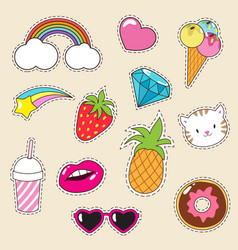 cartoon fashionable girl patches collection vector image