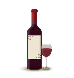 cartoon wine bottle with wineglass label vector image