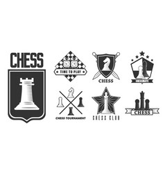 chess game isolated monochrome icon pieces and vector image