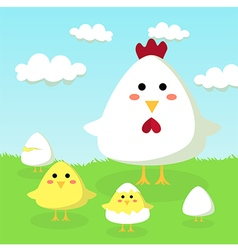 Chicken Chick and Egg in Field vector