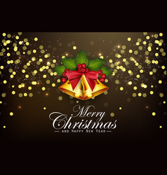 christmas background golden bells and berries vector image