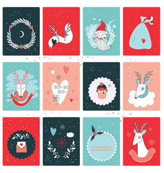 christmas new year card collection design template vector image