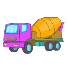 Concrete mixer icon cartoon style vector