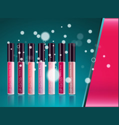 Cosmetic product glosses make up vector