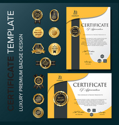 creative certificate template with orange luxury vector image
