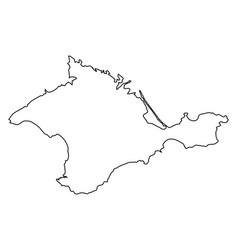 Crimea map of black contour curves on white vector