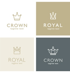 Crown icons - set of line crowns - design elements vector image