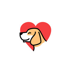 dog love smile cute logo icon download vector image
