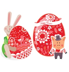 easter eggs with pig and rabbit vector image