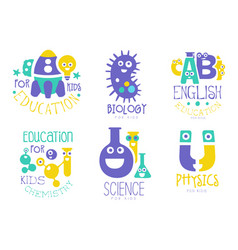 education for kids logo set physics english vector image