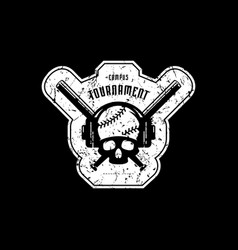 Emblem of baseball tournament with vintage texture vector