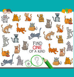 Find one a kind with cats animal characters vector