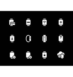 Fingerprint id and payment in smart watch icons on vector
