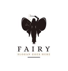 Flying magical fairy logo vector