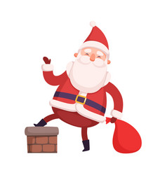 funny santa claus with presents cute christmas vector image