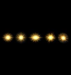 golden glowing light flash effect sun shining vector image