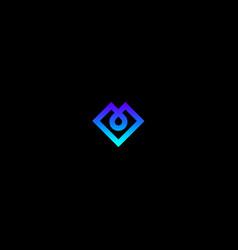 gradient blue v monogram vector image