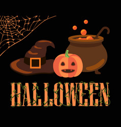 halloween poster with icons vector image