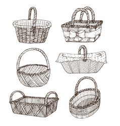 Hand drawn baskets vector