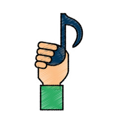 hand with music note isolated icon vector image