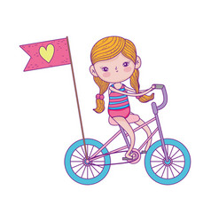 Happy childrens day little riding bike with flag vector