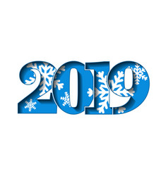 happy new year card blue 3d number 2019 vector image