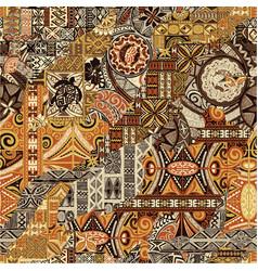 Hawaiian style tapa fabric patchwork vector