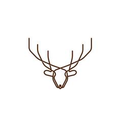 horned deer elk antler reindeer line monogram vector image