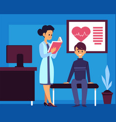 hospital room - cartoon doctor and patient in a vector image