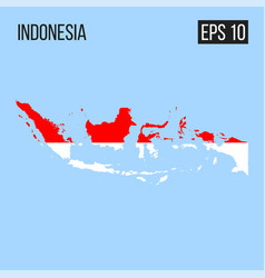Indonesia map border with flag eps10 vector