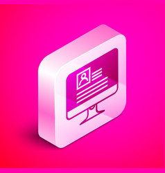 Isometric computer monitor with resume icon vector