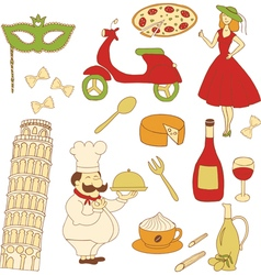 italy colored icons vector image