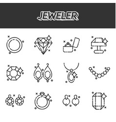 Jeweler icons set vector