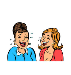 Joyful girlfriends women laugh isolate on white vector