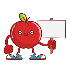 Kawaii smiling red apple fruit with sneakers vector