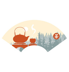 Landscape in china style with teapot and a cup vector