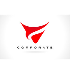 Letter v red logo design vector