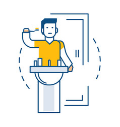 man brushing teeth near sink in bathroom isolated vector image