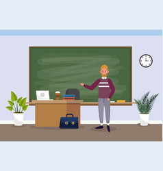 man teacher with laptop education in the classroom vector image