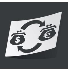 Monochrome dollar euro exchange sticker vector image