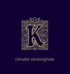 Monogram with crown k vector