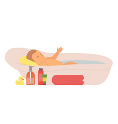 Newborn child care bathing kid with soap toy vector