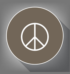 peace sign white icon on vector image