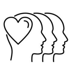 people affection icon outline style vector image