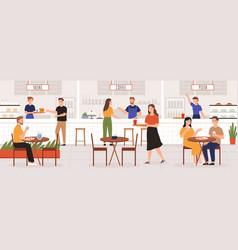 people in food court adult men and women eat vector image