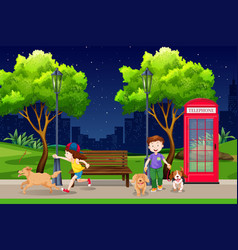 people in the park at night vector image